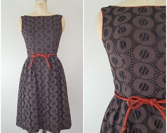 Vintage 1950s Sundress / Brown Circles / 50s Dress / 60s Dress / Small