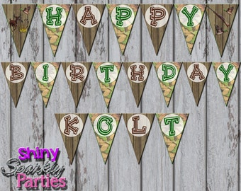 HUNTING PARTY BANNER, Hunting Pendant Banner, Camo Party Banner, Hunting Happy Birthday Party Banner, Hunting Decoration, Hunter, Fishing