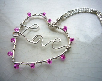 Silver Heart Necklace-Love , pink seed bead wrapped sterling silver Valentine heart love pendant on silver chain