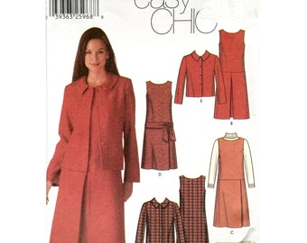 Simplicity 5902, Women's Dress or Jumper and Jacket Pattern, Easy Pattern, Size 4, 6, 8, 10, Uncut Pattern