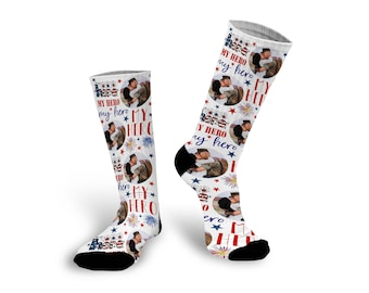 Army Wife, Military Wife, My Hero, Custom Socks, Socks, Personalized Socks, Picture Socks, Photo Gift, Custom Photo Socks --62162-SOX1-603