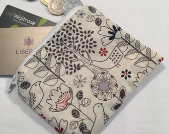 Woodland fabric coin purse, zip pouch, coin purse, change purse, change pouch, zipped pouch, zip pouch, zip purse, bird print, gift for her
