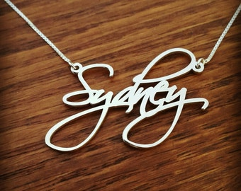 Birthday Gift / Teen / Sterling Silver signature name necklace / letter necklace / personalized pendant/ handwriting nameplate  celebrity