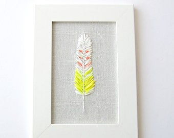 Embroidered dyed silk feather, 5 x 7 framed embroidery art work, nature lover's home decor, silk ribbon embroidery, fiber art