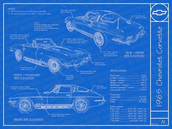 1965 chevrolet corvette blueprint poster 18x24 malvernweather Images