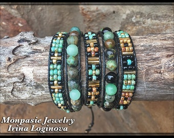 African Turquoise Beaded Wrap Bracelet - Casual Leather Wrap Bracelet - Boho 5x Wrap Bracelet