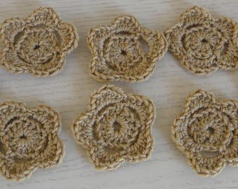 set of 8 Brown flowers made with wool crochet - new