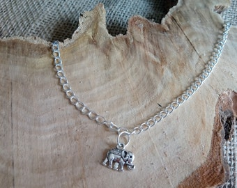 """Beautiful silver plated elephant charm anklet 9-11"""" - ankle bracelet / body jewellery"""