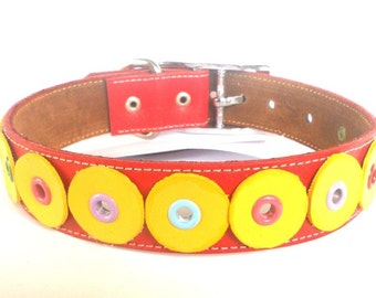 XL Leather Dog Collar in Red and Yellow