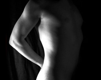 Naked art male artstic nude black and white photography fine ART print -Out of shadow 01