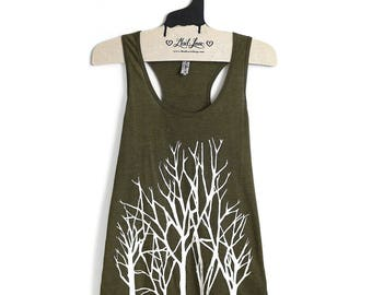 SALE Large -Olive Racer Back Tank with Branches Screenprint