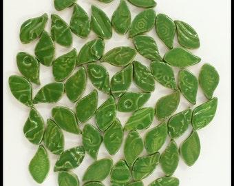 Ceramic Leaves - 50 Mosaic Leaf Tiles - High Fired
