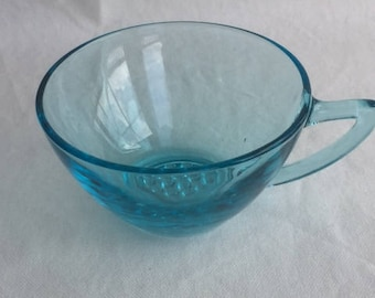 Hazel Atlas Aqua Blue Glass Capri Tea Cup Capri Blue