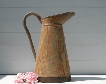 French Vintage Zinc Water Pitcher,  French Farmhouse Decor, Shabby Chic Home, Country Home, Rustic Home Decor, Short Zinc Pitcher