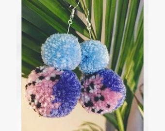 Double Pompom earrings pastel