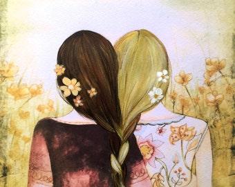 blonde and brown hair sisters best friends art print