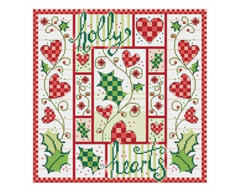 Holly and Hearts - Durene J Cross Stitch Pattern - DJXS2248