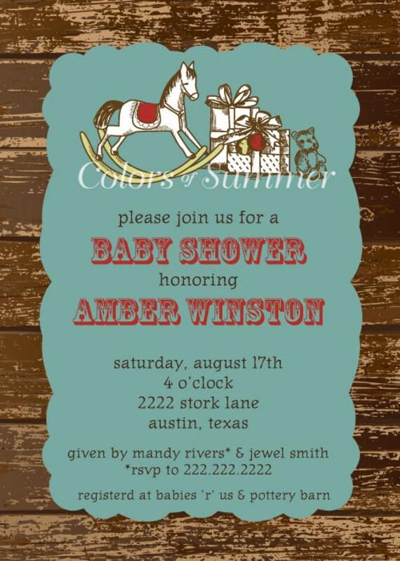 Rocking Horse Baby Shower Invitation Rustic Baby Shower