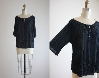 1920s midnight beaded silk blouse