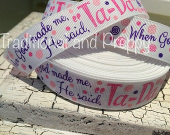 """7/8"""" When God Made Me Religious Glitter Grosgrain Ribbon sold by the yard"""