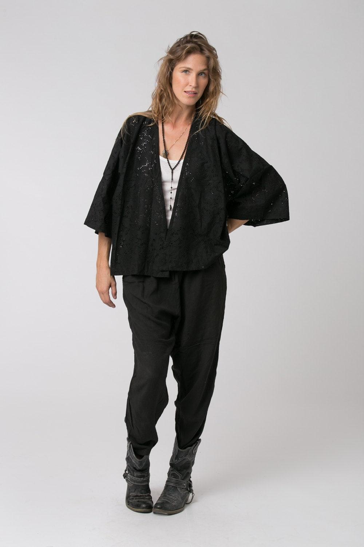 Schwarzen Kimono Boho Jacke Womens schwarz Jacke 3/4 Glocke