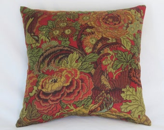 "Red Green Gold Floral Pillow Cover, 17"" Square, Covington Abbotsford Linen, Cranberry, Teal, Olive, Rust, Birds and Leaves, Ready Ship"