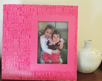 5x7 Big Sister Themed - Hand Decorated Picture Frame