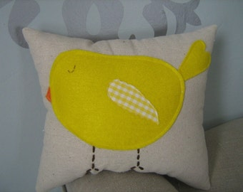 Chubby Yellow Bird Mini Pillow