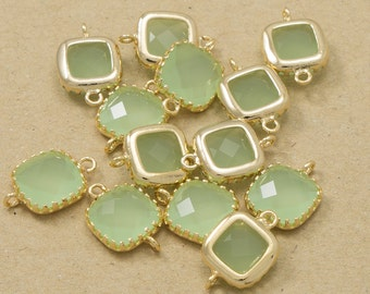 Light Mint Glass Connector, Glass Pendant, Jewelry Supplies, Polished Gold Plated over Brass - 2 pieces-[BGP0001]-LIGHTMINT/PG