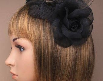 Large black rose with ribbon and feathers fascinator