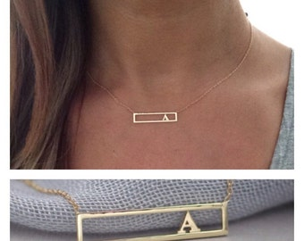 14k solid gold initial necklace name necklace bar necklace