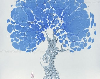 "Blueberry Tree -  The Original ""Marbled Graphics""™ by Robert Wu, Original Marbling Art, Marbled Paper"