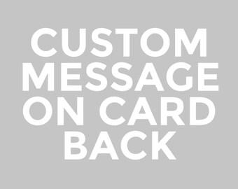 Custom Message Laser Etched on Back of Wood Card
