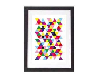 Neon Triangles Print - Geometric Poster - Scandinavian Wall Art - Home decor