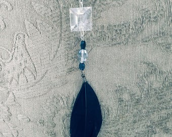 Black Sun Catcher with Feather and Vintage Crystal
