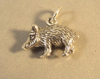 Sterling Silver 3-D JAVELINA Charm Pendant Wild Boar Hog Pig Arizona Southwest Animal .925 Sterling Silver New an63