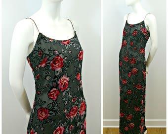 Vintage Floral Dress, 90s Rose Floral Sheer Velvet Dress, Burnout Velvet Floral Maxi Dress by Rampage, Grunge Sleeveless Velvet Dress Size 7