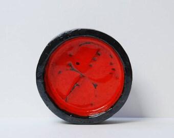 Vintage Belgium Berlemont red pottery bowl
