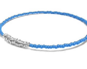 Seed Bead Bracelet // Blue Silver Beaded Bangle Bracelet // Eco-Friendly Bridesmaid Gift // Friendship Bracelet // Recycled Jewelry / Sister