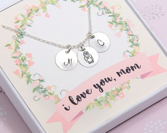 Mother's Day Gift, Mom Necklace, Gift for Mom, Penguin Necklace, Initial Necklace, Personalized Mothers Necklace, Sterling Silver Necklace