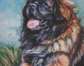 "LEONBERGER dog portrait ART canvas PRINT of LAShepard painting 12x16"""