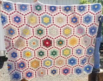 Grandmother's Flower Garden Vintage Quilt