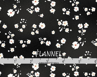 Black Floral Flannel, Floral Quilt Flannel, Maywood Studios Welcome Home MASF 8368 J, Black & Off White Floral Cotton Flannel Yardage