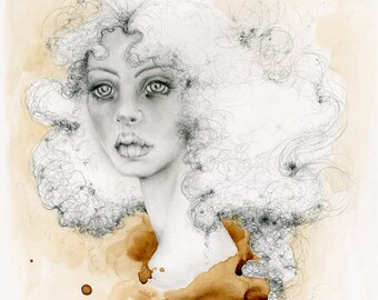 Fine Art Coffee Staining Painting Drawing Illustration One of a Kind Art for your Brown Wall Art Evocative Women Beautiful Face Work of Art