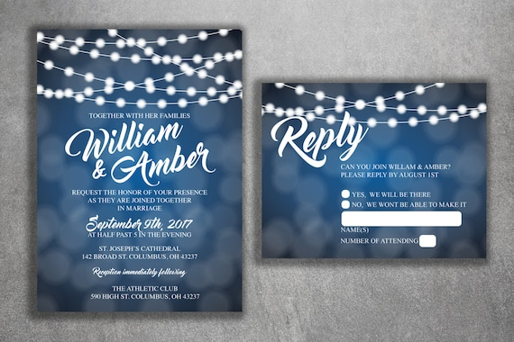 Affordable Wedding Invites: Blue And White Lights Wedding Invitations Set Printed Cheap