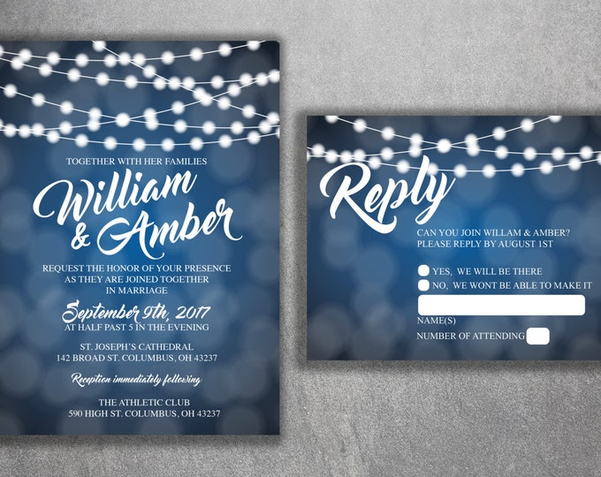 Affordable String Light Wedding Invitations Set, Cheap Light Wedding Invitation, Sparkle, Glitter, Blue and White, Outside, Modern, Rustic