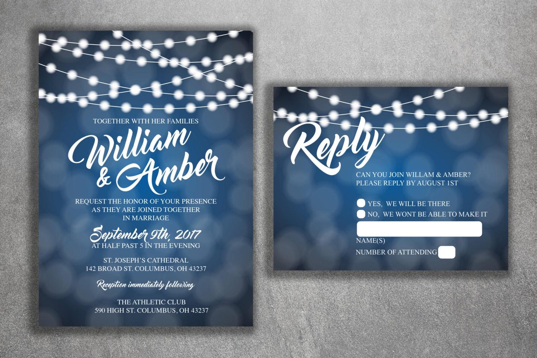 Cheap Unique Wedding Invitations: Blue And White Lights Wedding Invitations Set Printed Cheap