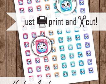 Laundry Stickers, Kawaii Planner Stickers, Printable Calendar, Washing Machine Stickers