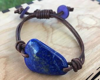 Lapis and Leather Bracelet