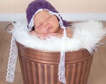 Newborn Lace Trim Vintage Style Bonnet